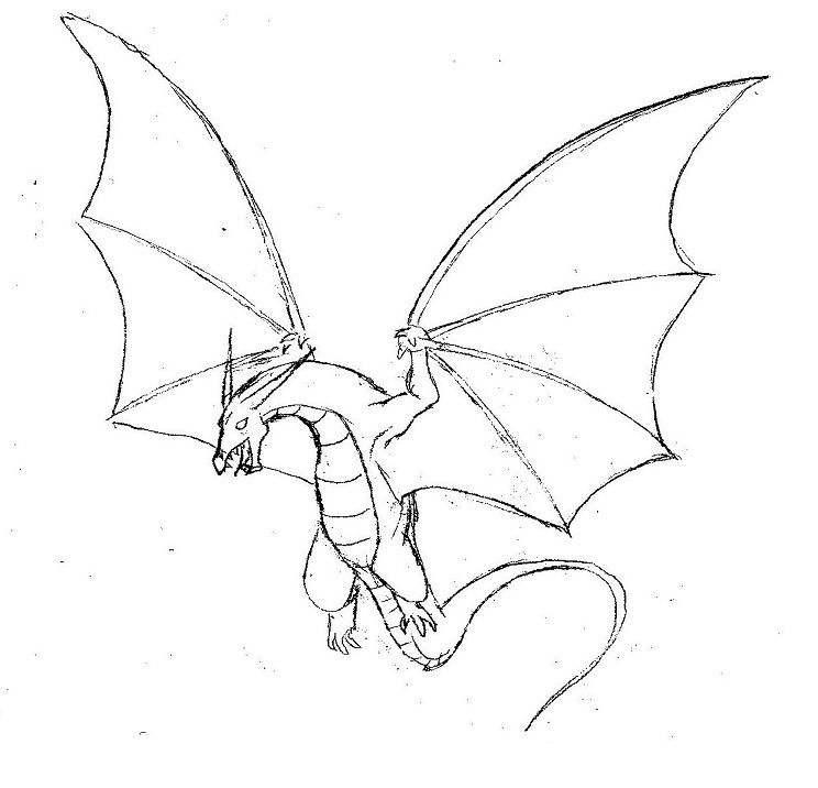 Flying baby dragon outline clipart black and white. Simple drawings with wings
