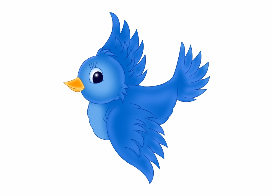 Large blue png cartoon. Flying bird clipart