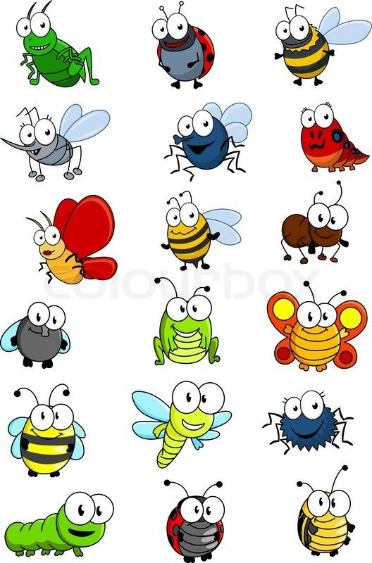 Flying bugs clipart graphic black and white Cartooned insects set with bee, wasp, hornet, caterpilllar ... graphic black and white