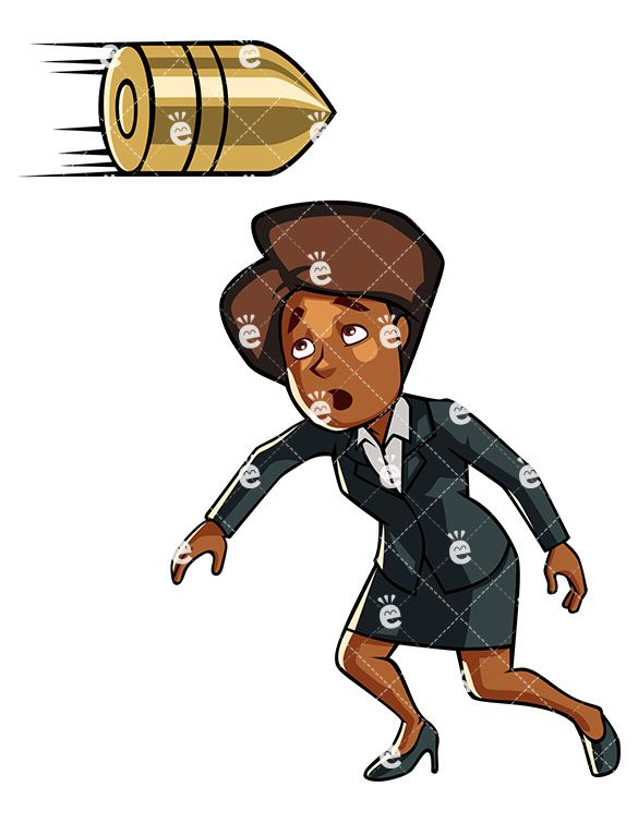 Flying bullet clipart transparent library A Black Businesswoman Ducking From A Giant Flying Bullet | Black ... transparent library