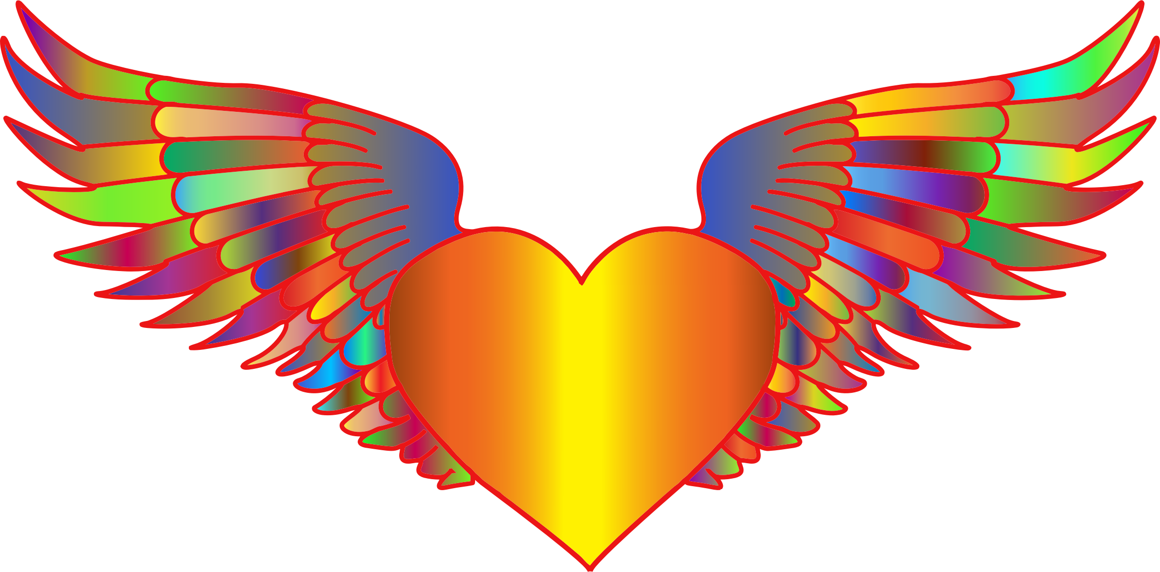 Flying heart clipart picture transparent stock Clipart - Prismatic Flying Heart picture transparent stock