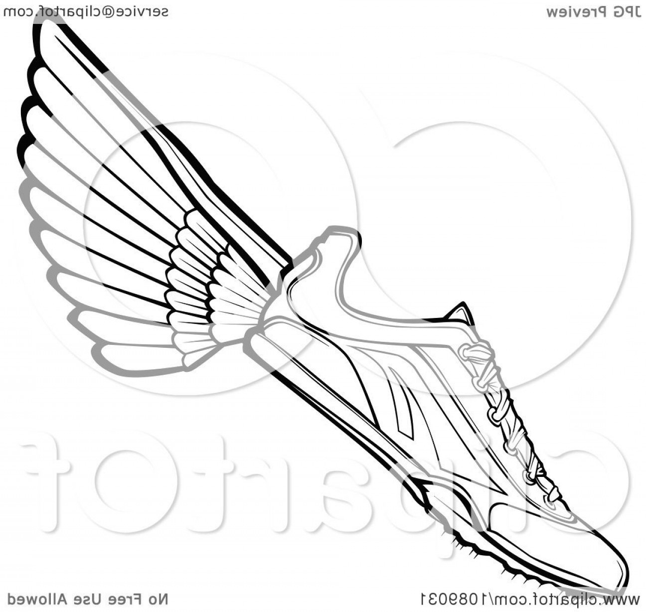 Flying track shoe clipart 1500 x 1500 transparent stock Black And White Winged Track Shoe | SOIDERGI transparent stock