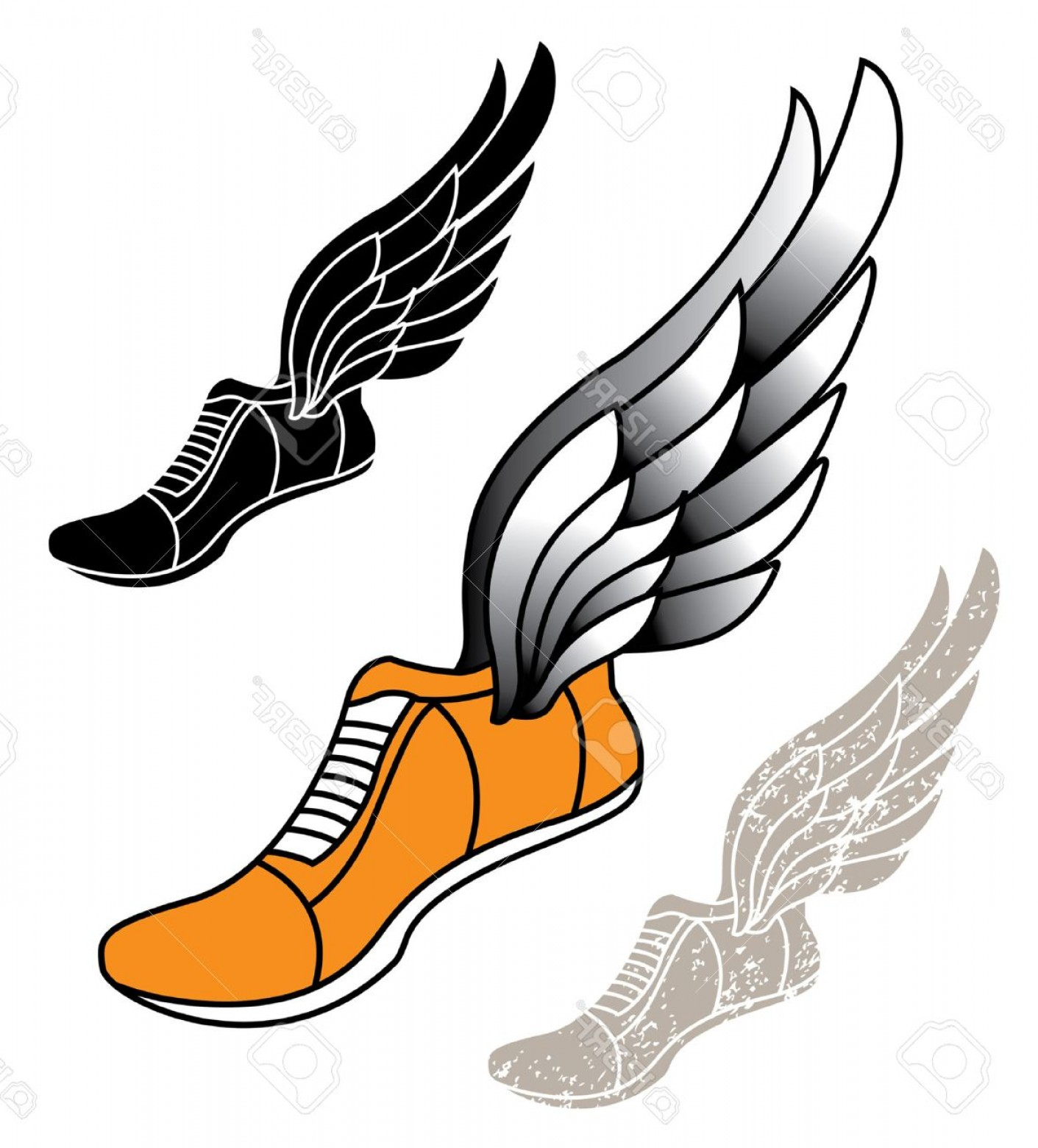 Flying track shoe clipart 1500 x 1500 vector transparent stock Photostock Vector Track Athletic Sports Running Shoe Logo With Wings ... vector transparent stock
