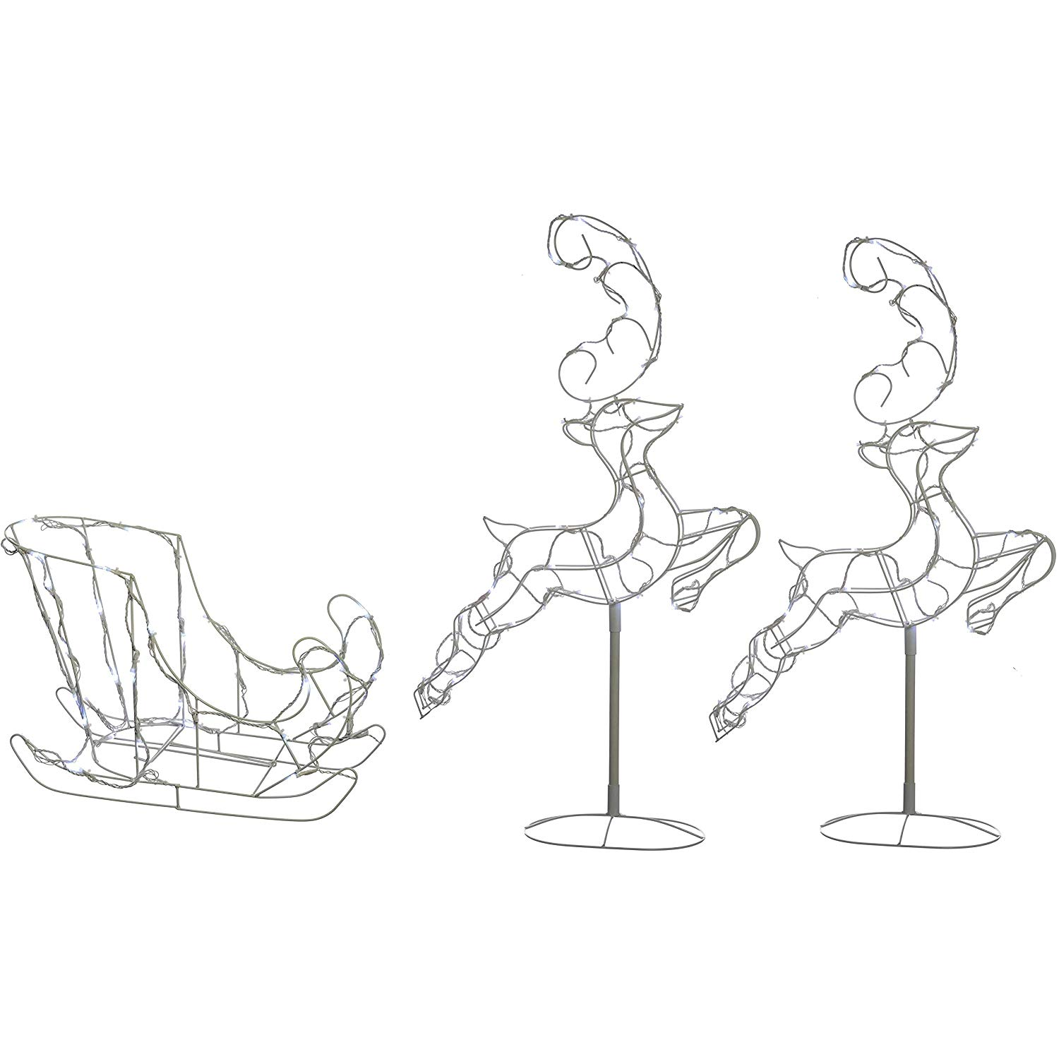 Flying track shoe clipart 1500 x 1500 clipart royalty free WeRChristmas Flying Reindeer Sleigh Silhouette with 120-LED Lights, 300 cm  - Large, White clipart royalty free