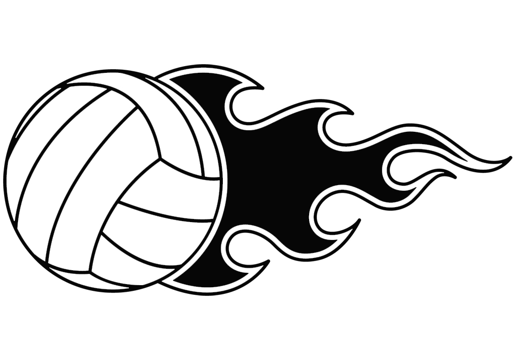 Volleyball ball clipart fire