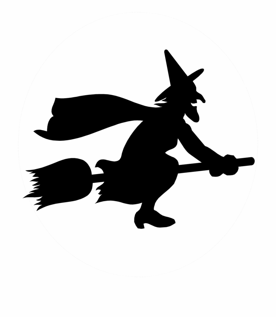 Png on a broomstick. Flying witch silhouette clipart