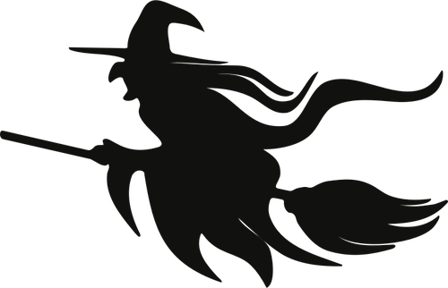 Flying witch silhouette clipart. On broomstick copyright free