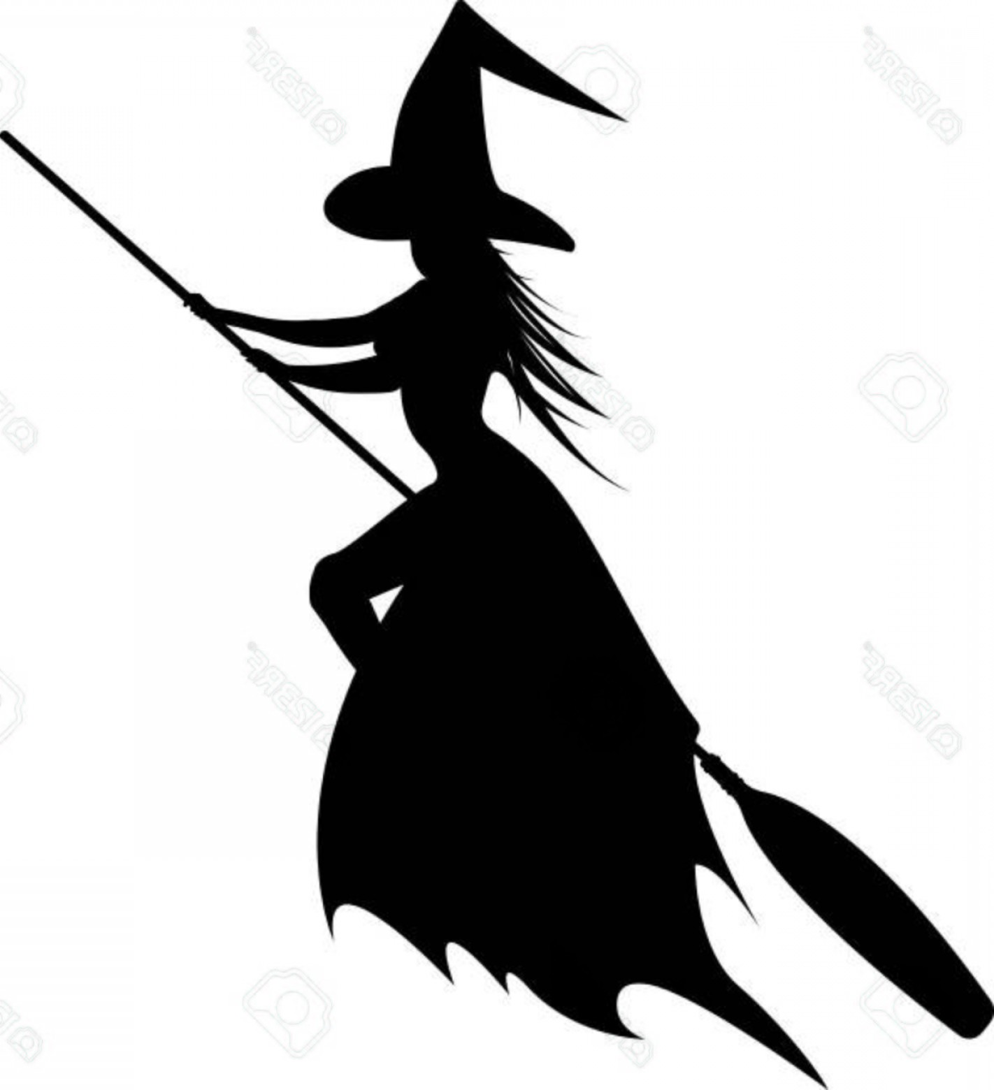 Photostock vector of the. Flying witch silhouette clipart