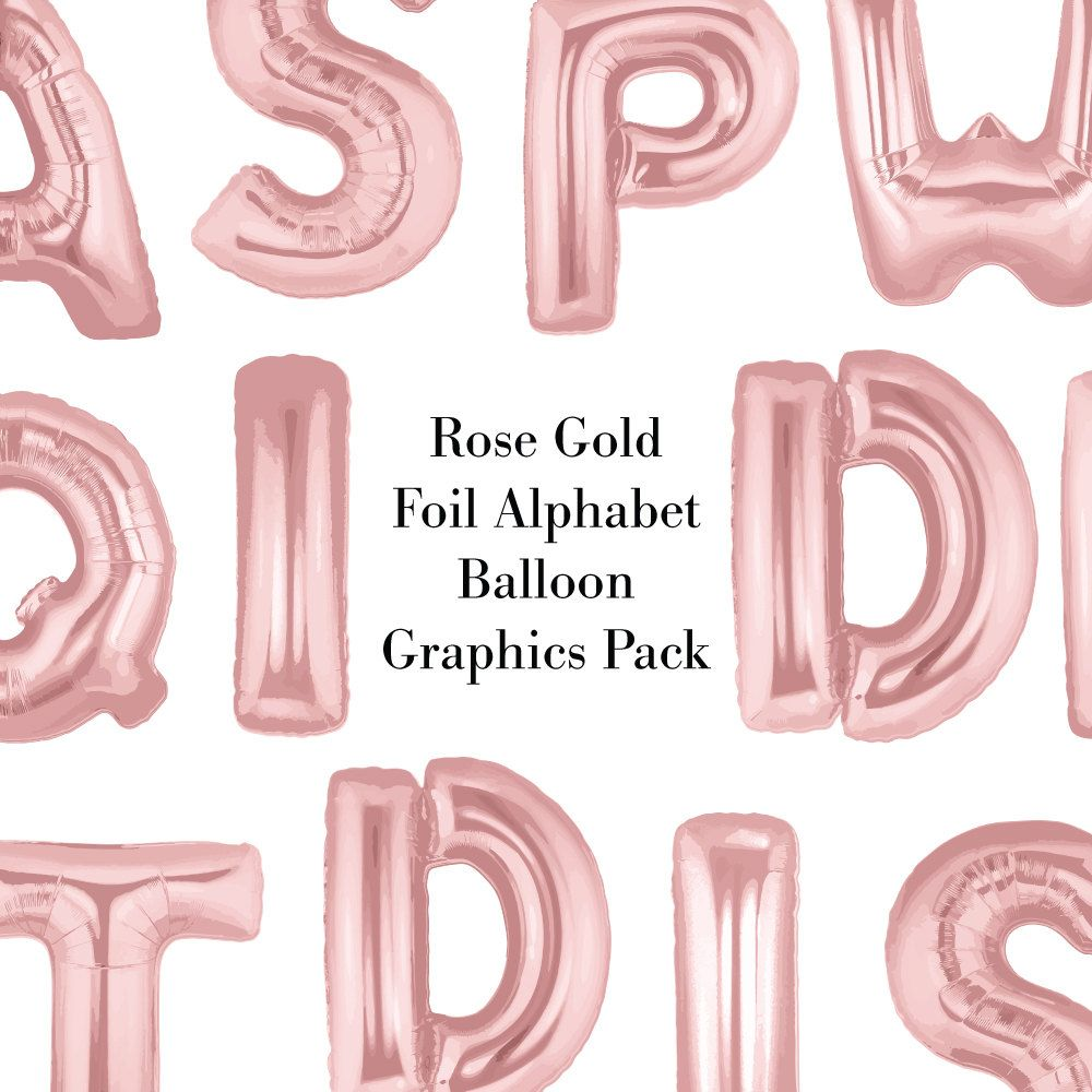 Rose gold balloon letters. Foil balloons clipart