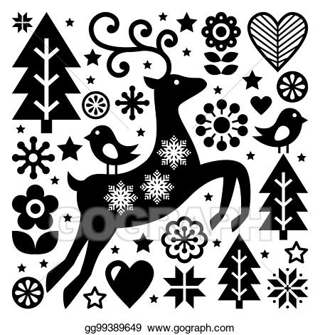 Fol art star clipart black and white picture download Clip Art - Christmas black and white folk vector pattern ... picture download