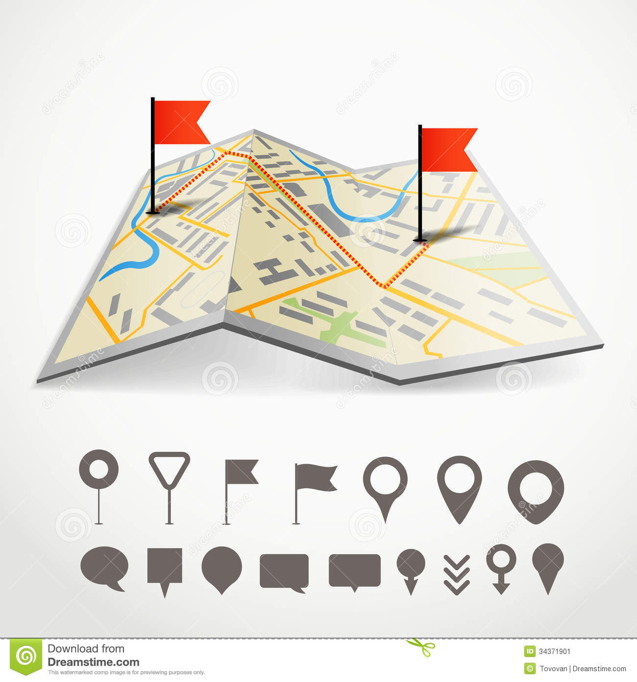 Folded road map clipart clip transparent download Folded Abstract City Map Stock Image - Image: 34371901 clip transparent download