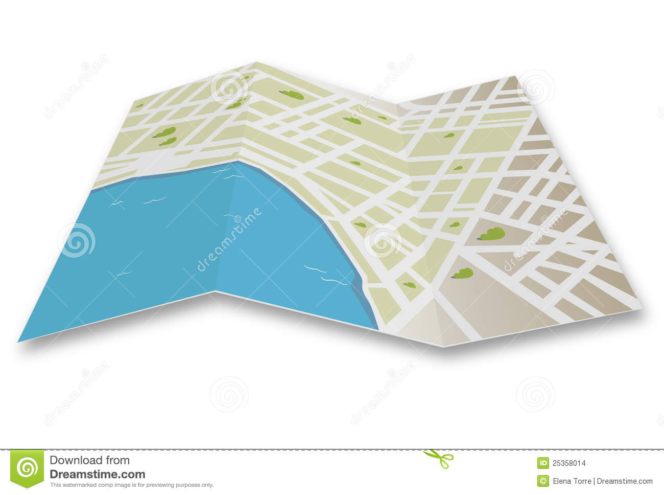Folded road map clipart banner freeuse Street Map A Illustration Of Stock Vector And Royalty Free Gps ... banner freeuse