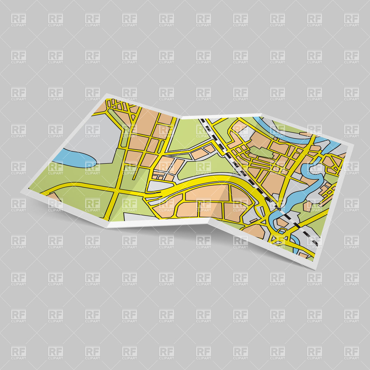 Folded road map clipart clipart freeuse stock Paper city map - folded booklet Vector Image #28496 – RFclipart clipart freeuse stock