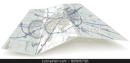 Folded road map clipart image freeuse stock Folding map stock vector image freeuse stock