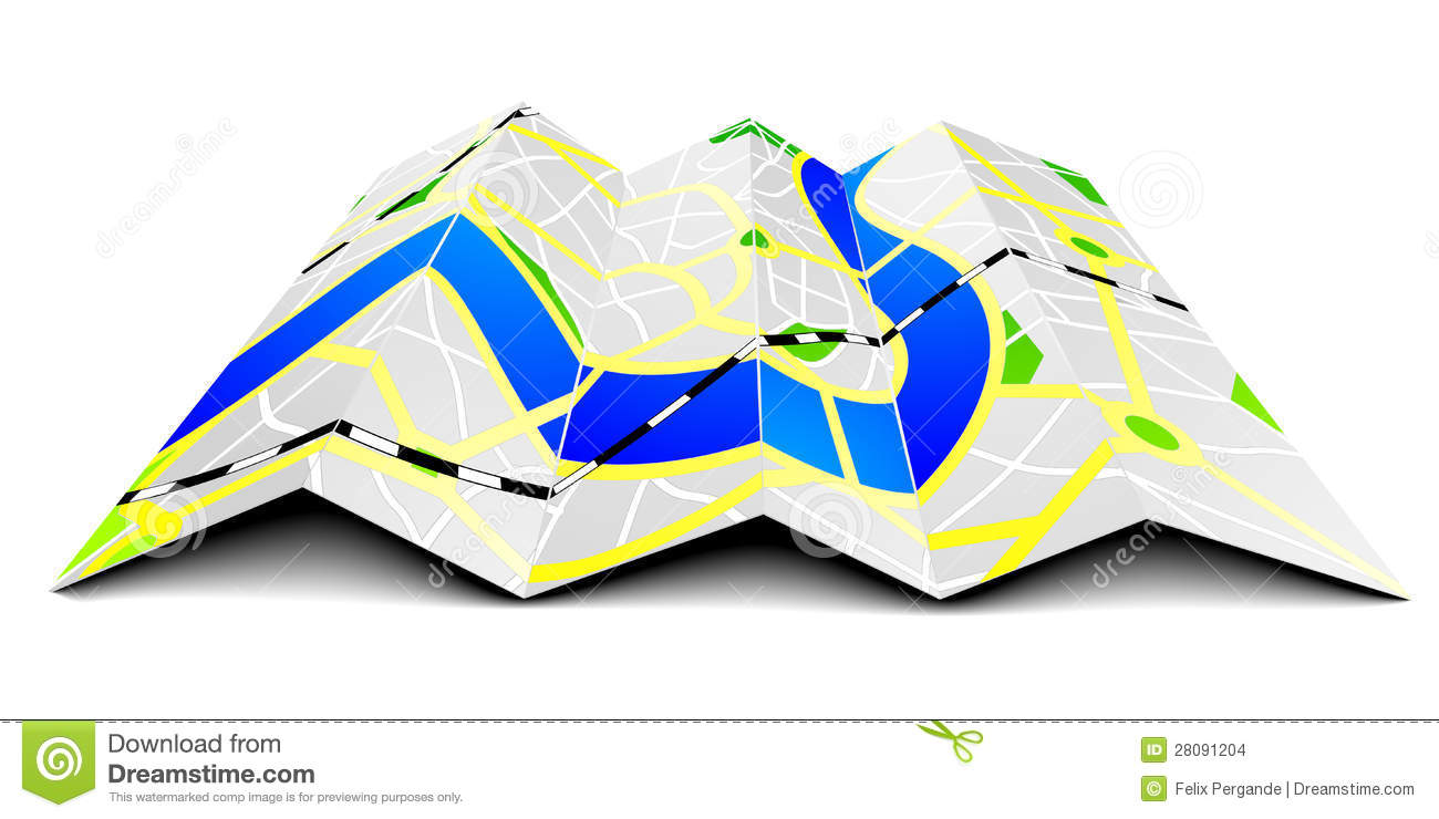 Folded road map clipart png free stock Folded road map clipart - ClipartFest png free stock