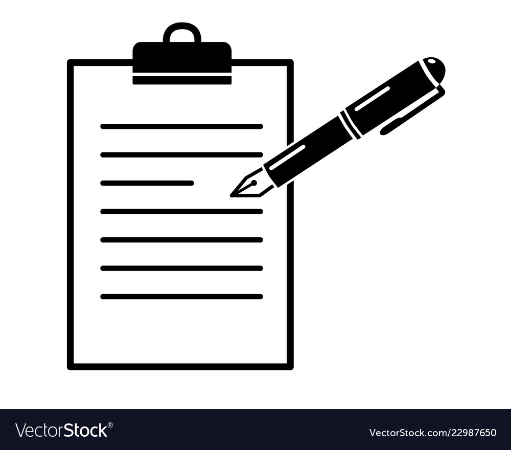 Folder with a pen paper clip clipart. On simple black icon