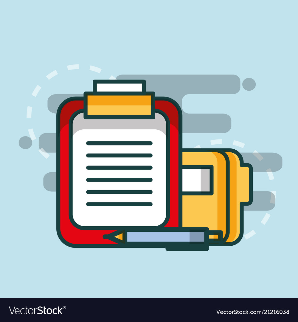 Clipboard report file office. Folder with a pen paper clip clipart