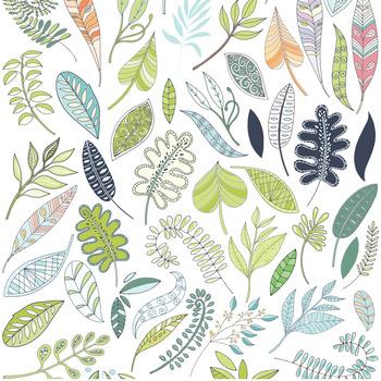 Fantasy decorative leaves flourishes. Foliage clipart