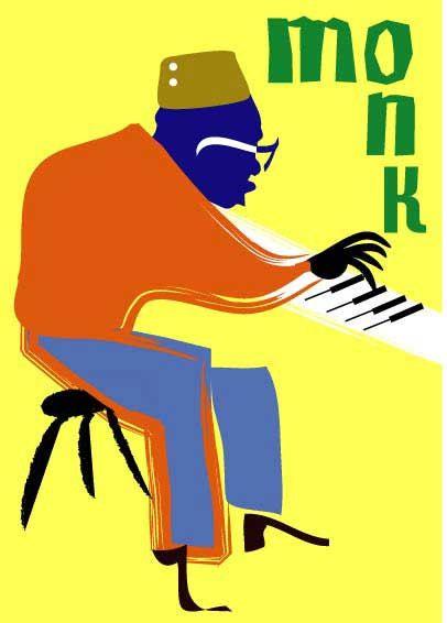 Folk jazz & blues clipart. Thelonious monk piano art