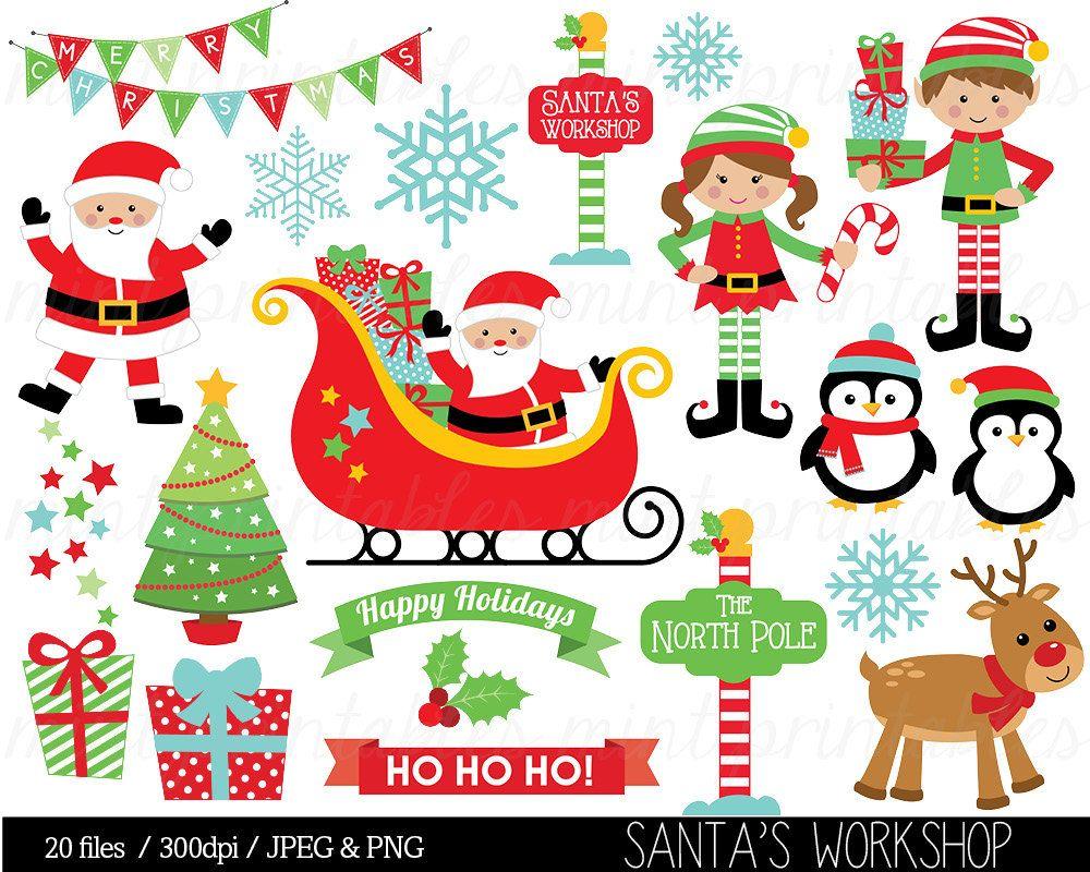 Fondo navide o clipart svg black and white Christmas Clipart, Santa Claus Clip Art, Elf, Elves, Sleigh ... svg black and white
