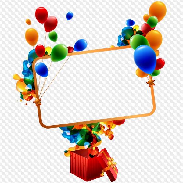 Fondos de cumplea os clipart vector transparent PSD, 4 PNG, marcos de cumpleaños clipart con bolas y regalos en ... vector transparent