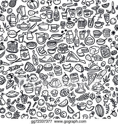 Vector stock doodle icons. Food background clipart