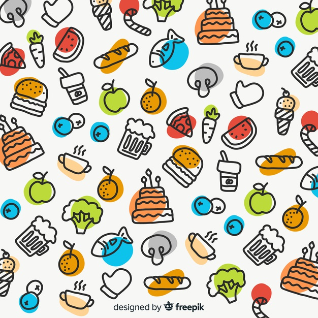 Food background clipart. Hand drawn vector free