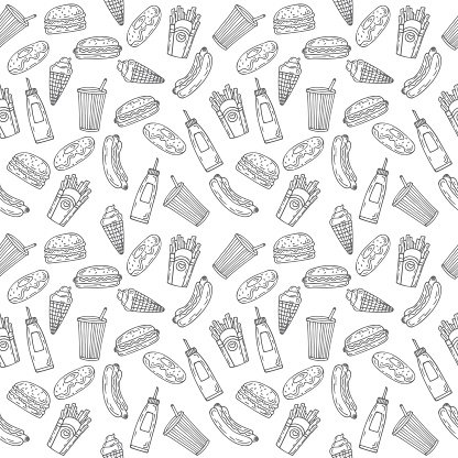 Fast seamless hand drawn. Food background clipart