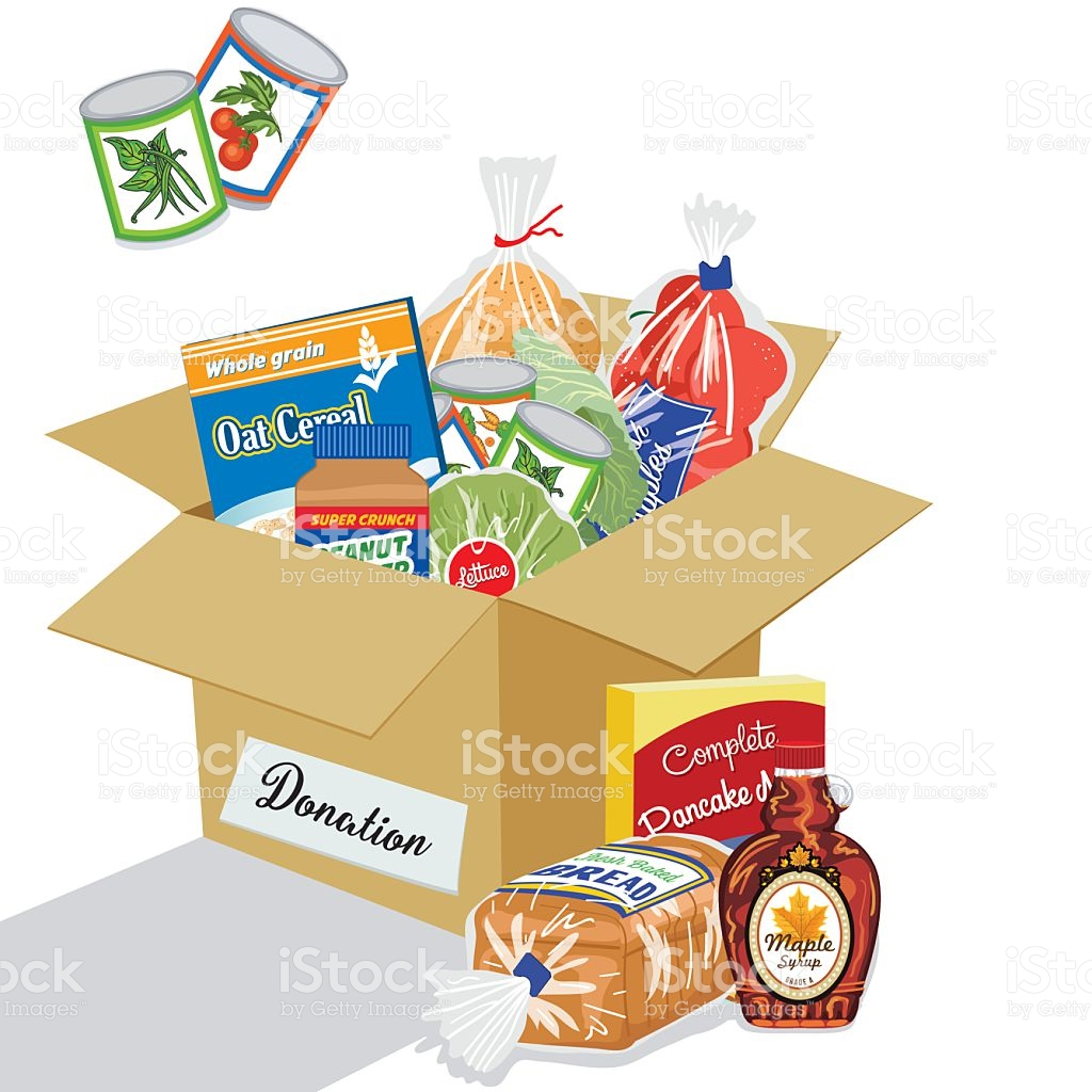 Food bank clip art jpg black and white stock Food Bank Donation Concept stock vector art 592646526 | iStock jpg black and white stock