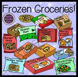 Food clipart blackline clip free stock Frozen Groceries Food Clip Art - Color & Black Line from Graphics ... clip free stock
