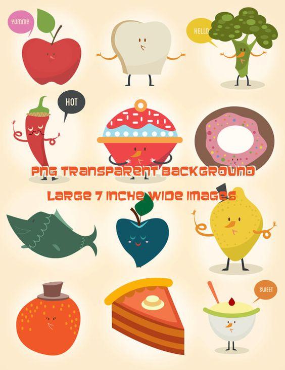 Food clipart jpg format svg royalty free download 12 Funny Foods Clipart - Digital Download Clip Art Transparent ... svg royalty free download