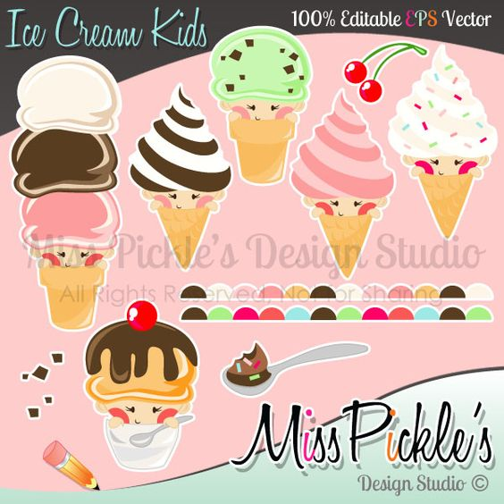 Food clipart jpg format jpg black and white download This super cute Ice Cream Kids clip art set includes separate ... jpg black and white download