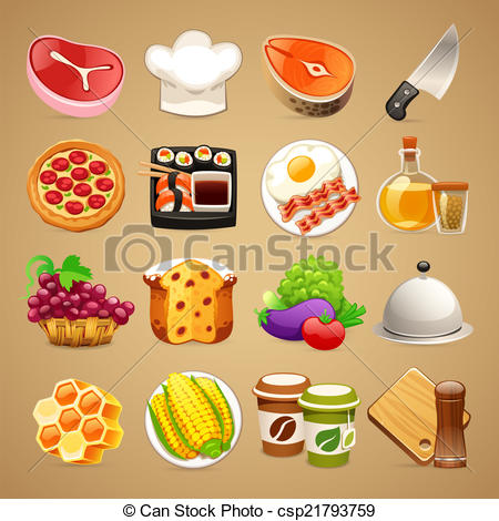 Food clipart jpg format image royalty free stock Clipart Vector of Food and Kitchen Accessories Icons Set1.1 - Food ... image royalty free stock