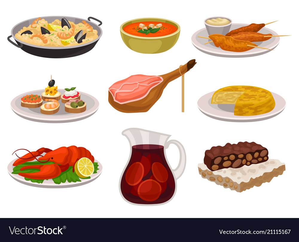 Food clipart vector clip art black and white stock Flat set of traditional spanish food and clip art black and white stock