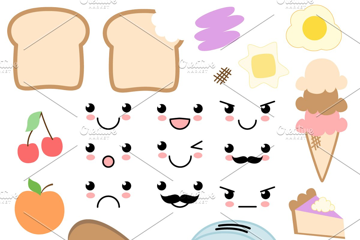 Food clipart vector clip art freeuse library Kawaii Food Vectors and Clipart clip art freeuse library