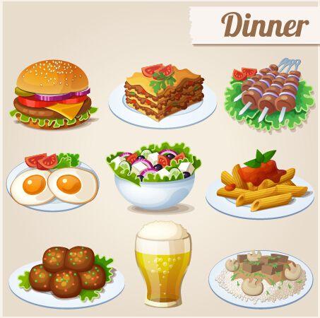 Food clipart vector vector free Tasty dinner icons design vector free | Clip art-food-drink | Food ... vector free