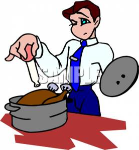 Food cooking temperatures clipart clipart royalty free Cartoon of a Man Checking the Temperature of a Cooking Turkey In a ... clipart royalty free