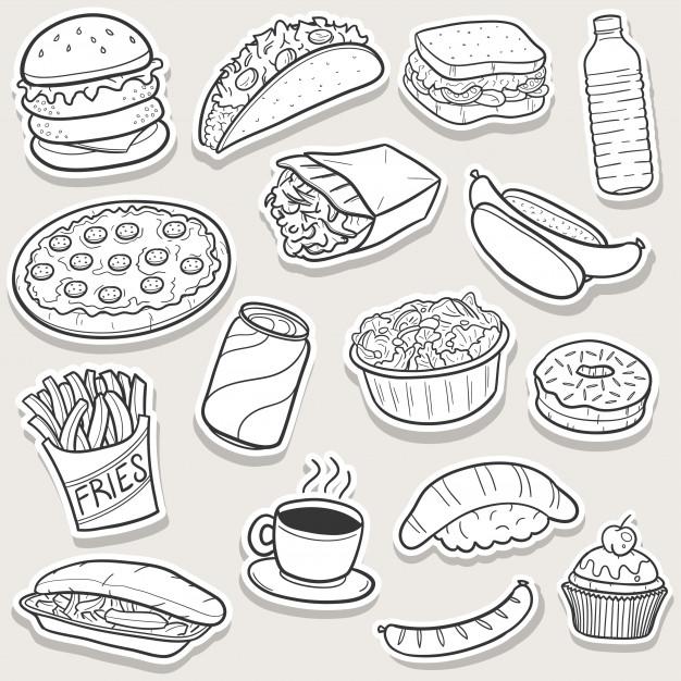 Food doodle clipart vector freeuse download Fast food doodle, set of sketch art stickers Vector | Premium Download vector freeuse download