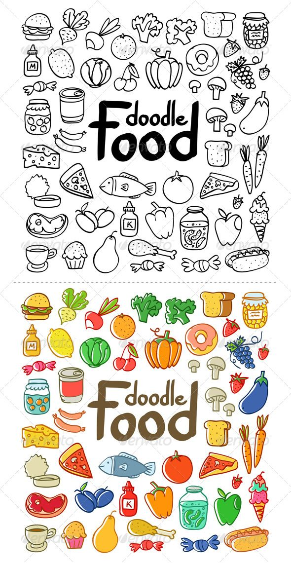 Food doodle clipart svg royalty free Food Doodle - Food Objects | Scribble Journals in 2019 | Doodles ... svg royalty free