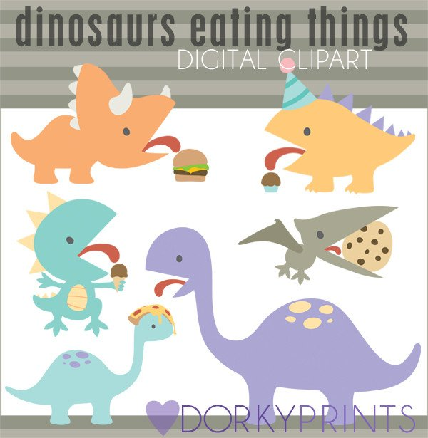 Food for animals clipart image free Dinosaurs with Food Animals Clipart – Dorky Doodles image free
