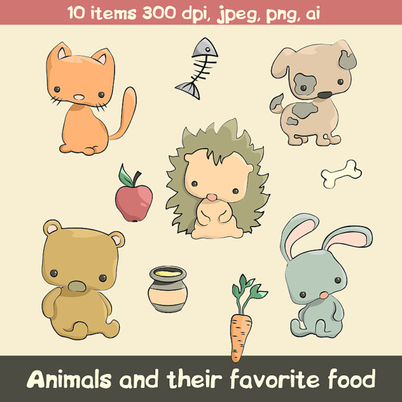 Food for animals clipart vector free Animals and their food. Cute digital clipart. Perfect for vector free
