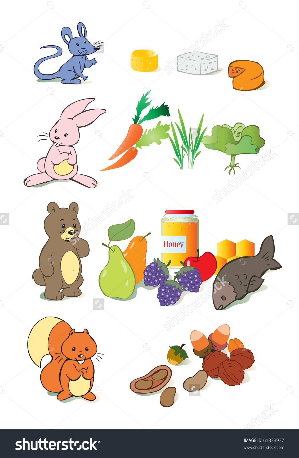 Food for animals clipart clip transparent stock Vector Illustration Animals Favourite Food Education Stock Vector ... clip transparent stock