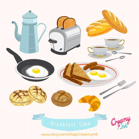 Food for breakfast clipart banner transparent library American Breakfast Brunch Food Digital Vector Clip Art / European ... banner transparent library