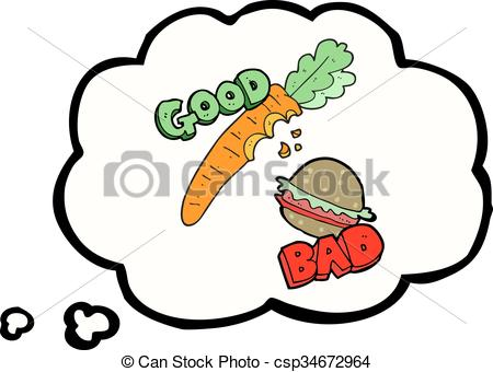 Food for thought clipart banner freeuse download Clip Art Vector of thought bubble cartoon good and bad food ... banner freeuse download