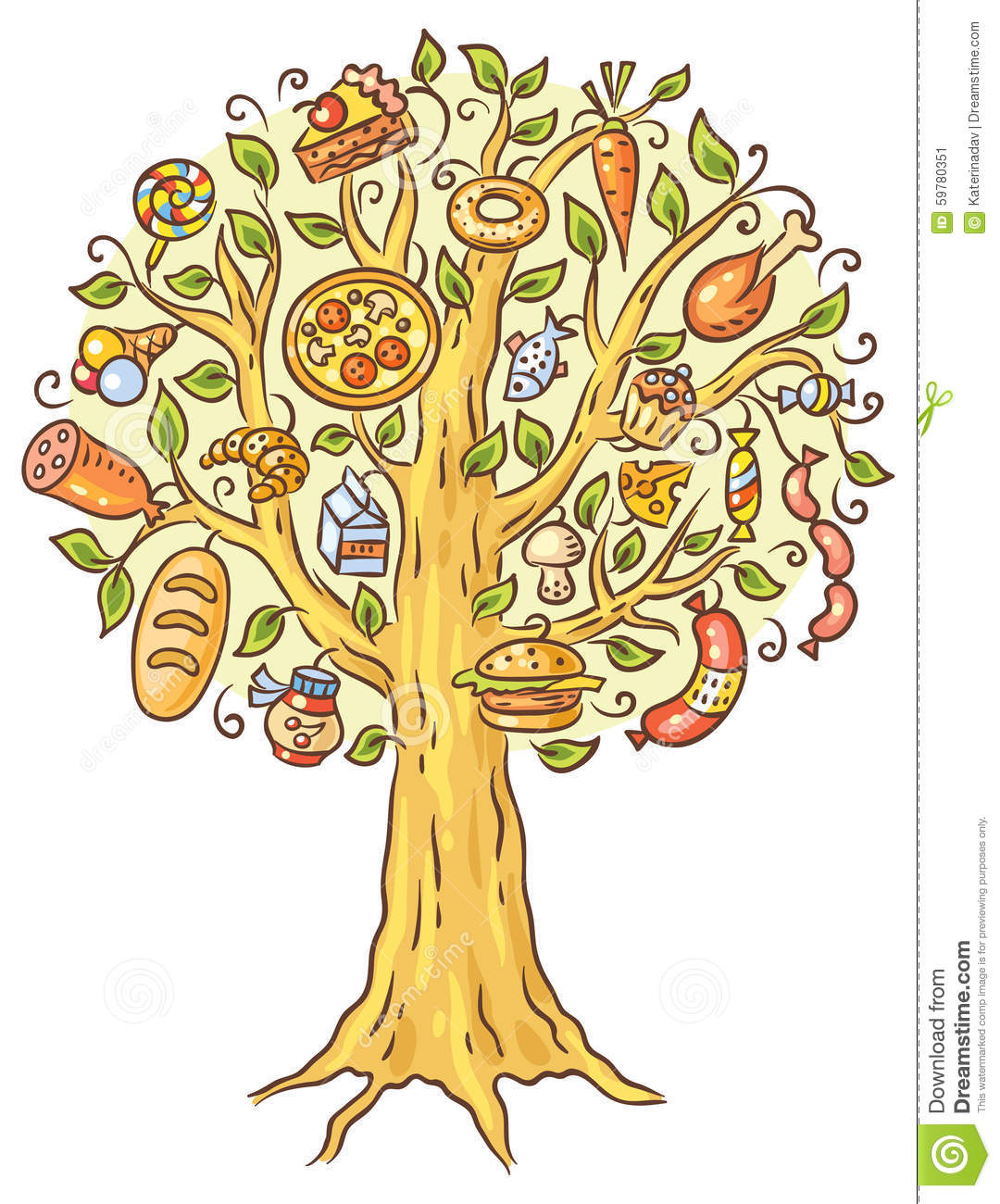 Food from trees clipart vector black and white Cartoon Drawing Of Lots Of Ready-made Food Growing On Tree Stock ... vector black and white