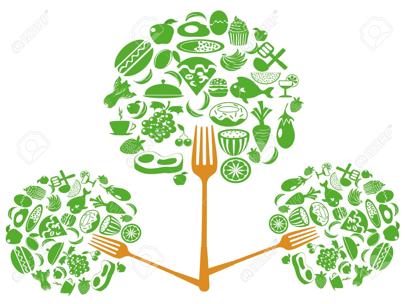 Food from trees clipart jpg freeuse download Eco Food Fork Tree For Food Background Royalty Free Cliparts ... jpg freeuse download