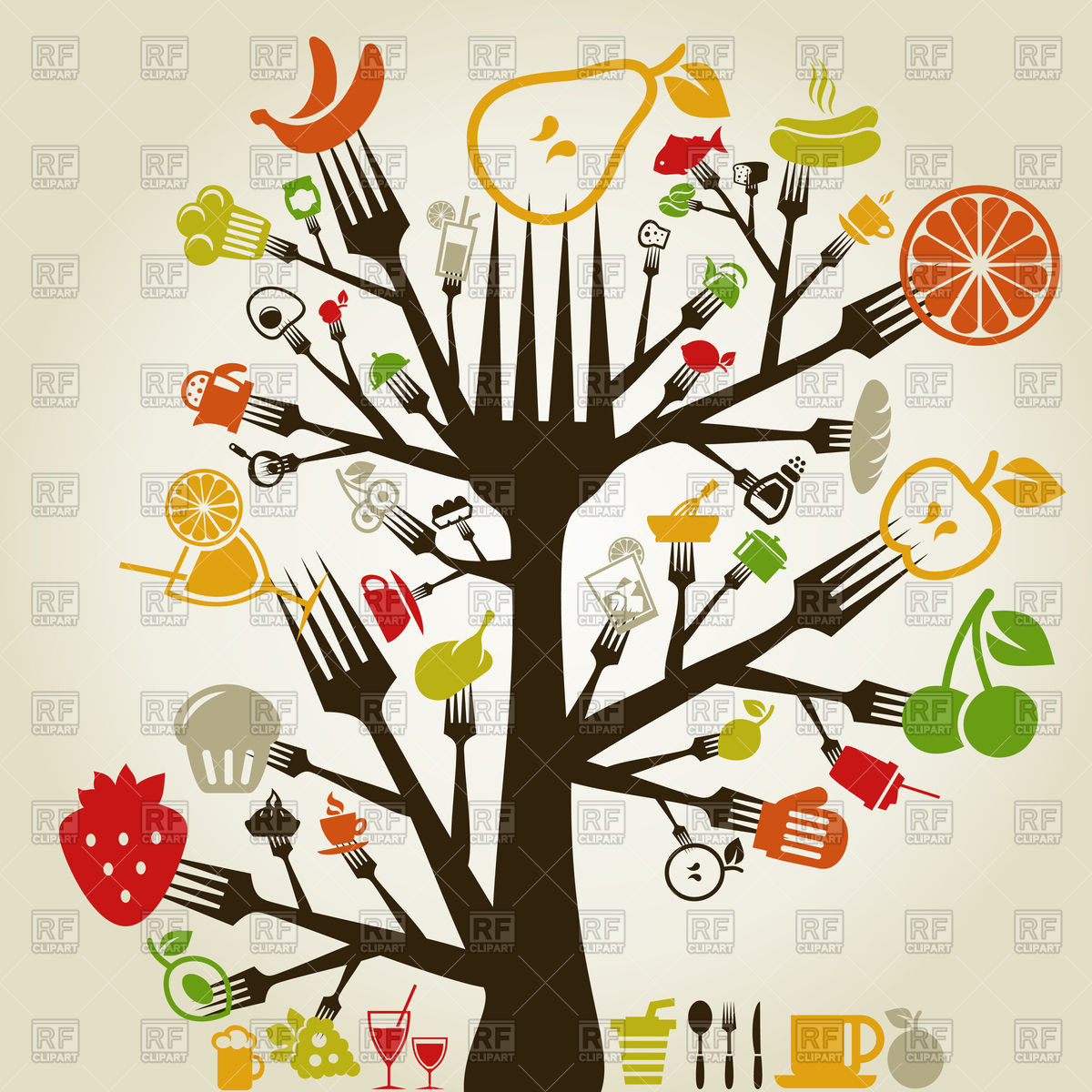 Food from trees clipart clip transparent stock Abstract tree made from fork with food icons Vector Image #79096 ... clip transparent stock