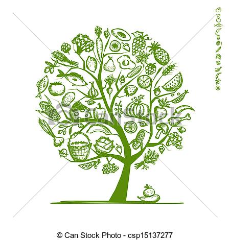 Food from trees clipart banner freeuse library Vectors Illustration of Healthy food tree, sketch for your design ... banner freeuse library