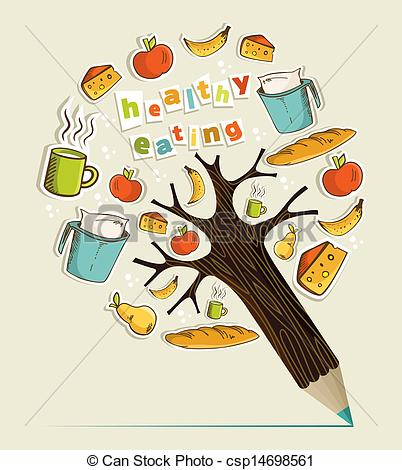 Food from trees clipart svg royalty free library Clip Art Vector of Healthy food concept pencil tree - Healthy food ... svg royalty free library