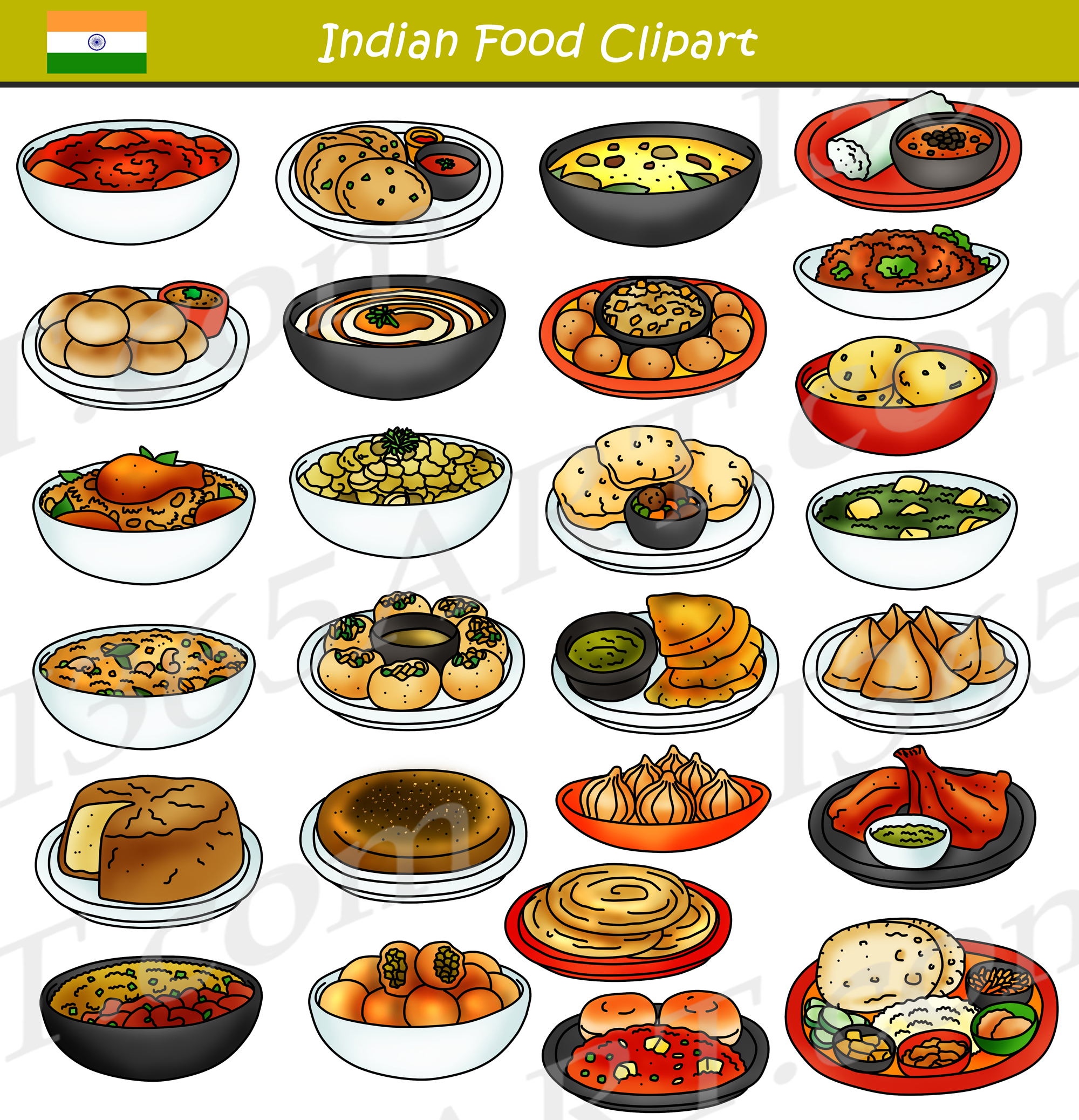 Food graphics clipart jpg royalty free library Indian Food Clipart Bundle Graphics jpg royalty free library